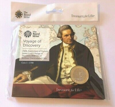 2018 James Cook £2 Two Pound Coin Brilliant Uncirculated BUNC UK Royal Mint pack