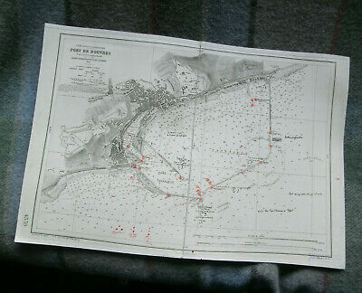 Antique Cloth Backed Map Navigational Chart Hydrographic Port Of Dover 1889