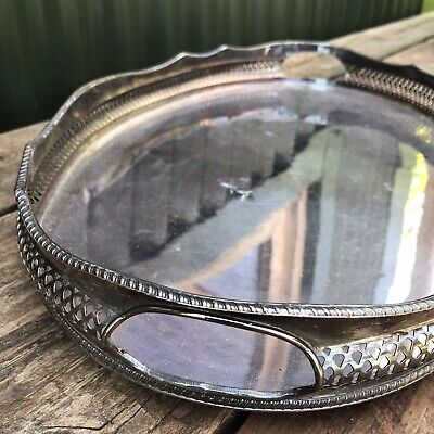 Large Oval Antique Silver Plated Gallery Butlers Serving Tray With Handles