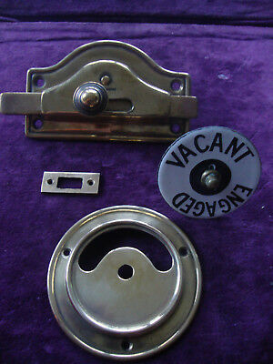 Very nice antique brass enamel vacant engaged lavatory wc privacy lock