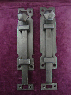 Super pair very robust gothic  ecclesiastical door bolts with inset keeps