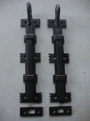 Super pair cast iron gothic ecclesiastical door bolts, inset keeps
