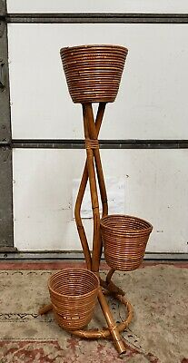Vtg Bohemian Mid Century Rattan Wicker 3 Tier Plant Stand Made in ITALY Dept 56