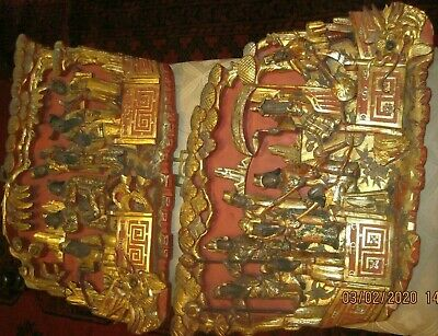 Chinese pair gilded figurative Temple wall panels . Approx 30x39 cms . Exquisite