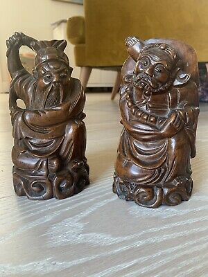 2 No. Antique Chinese Boxwood Carvings- Hand Carved Goods Deities, Heavy