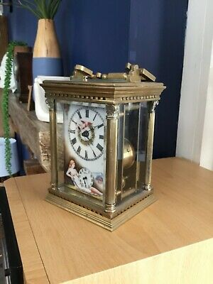 Antique beautiful  brass bell chime carriage clock. Repeater. With second hand