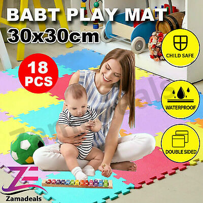 18Pcs Eva Foam Mat Soft Floor Tiles Interlocking Play Kids Baby Mats Gym 30X30cm