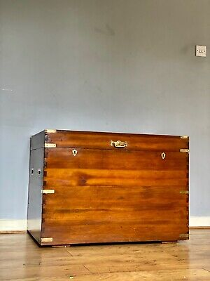 Antique Victorian Camphor Wood Military Campaign Chest With Brass Fittings