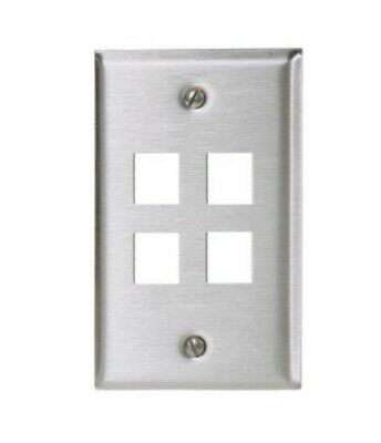(Qty 20) Hubbell 1Gang 4Port Stainless Faceplates #SSF14