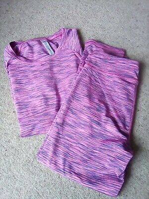 90Degree By Reflex Girls Leggings And Top In Pink And Purple Age 16