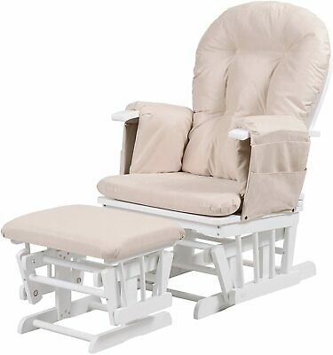 Reclining Nursing Glider and Footstool (White) Collection Only