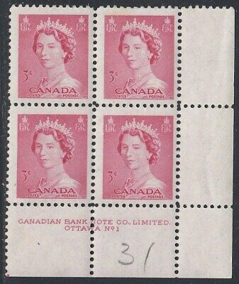 Canada Scott 327 LR Pl #1 MNH  #2- 1953 Karsh Issue