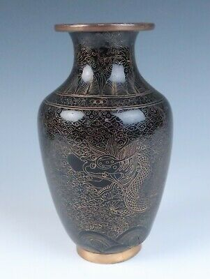 Quality Chinese Cloisonne Vase w/ 2 Imperial Dragons & Pearl w/ Bats Rui Antique