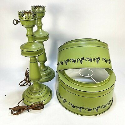 Vintage Pair of Olive Green Tole Lamps with Grape Vine Stencils