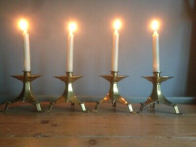 Antique Victorian Brass Candlesticks, Candle Holders, Unusual, Ecclesiastic x4