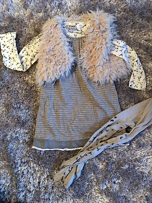 Next Grey Floral Outfit With Fur Gilet Age 4