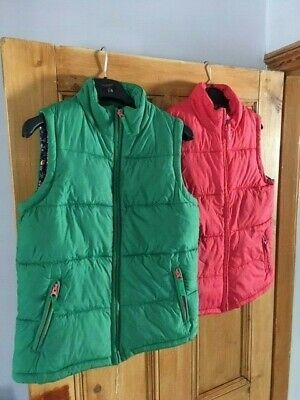 Mini Boden Girls Green and Red Gilets, Sleeveless Jacket,  Body warmer Age 11-12