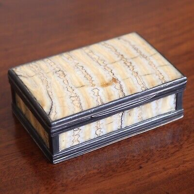 Antique Early Victorian Silver Mounted Mammoth Tooth Snuff Or Trinket Box, 1849.