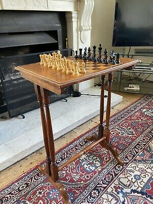 Victorian Antique Walnut Chess Table - Vintage Game With Chess Peices