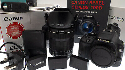 Canon EOS 100D 18.0 MP DSLR Camera and 18-135 ISTM Lens & Hood - Boxed