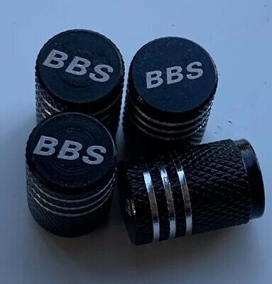 Bbs Wheel Valves Dust Caps. Engraved Valves Black White