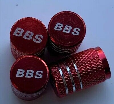 Bbs Wheel Valves Red Dust Caps. Engraved Valves Red White