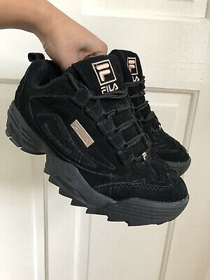 Woman's Fila Disruptor III 3 Black Suede Rose Gold Platform Trainers Size UK 6
