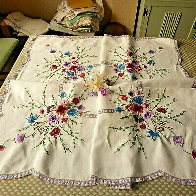 Vintage Hand Embroidered Linen Tablecloth=Beautiful Detailed Floral Bouquets/