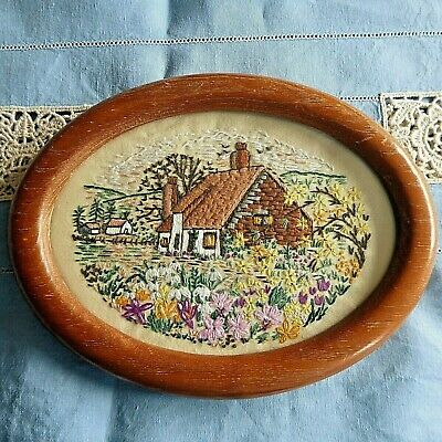 Vintage Hand Embroidered Picture / Thatched Cottage And Country Gardens