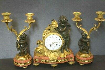 19thc French Figural Putti Marble Gilt Bronze Mantle 3 Pc Clock Signed Leroy