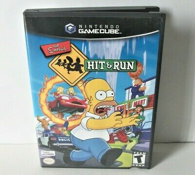 The Simpsons Hit & Run Case Only NO GAME Nintendo GameCube Black Label Cover Art