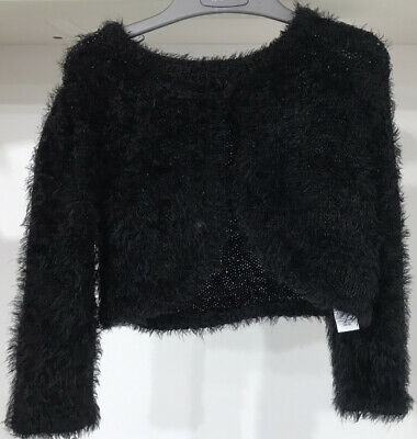 Black Soft Furry Cardigan For Girl Age 6-7 - George