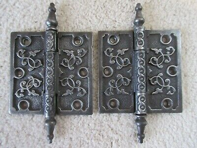 Pair of antique vintage floral door hinges, 4 x 4, great condition, heavy