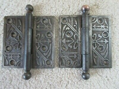 Pair of antique vintage decorative door hinges, 4 x 4, great condition, heavy