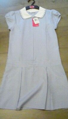 Marks And Spencer Girls Blue School Summer Dress stain defense Age 10  years bn