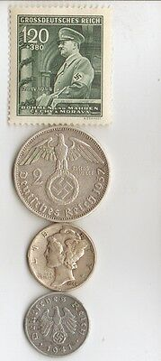 - 7 -*WW2 - Zink,  Steel,   and   SILVER  - *us   and - *german coins/stamps++