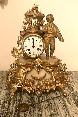 Antique French Japy Freres Mantel Clock In Gilded Metal And Alabaster