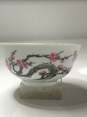 Nice Chinese Porcelain Bowl with Pink Blossom Circa1970 VGC