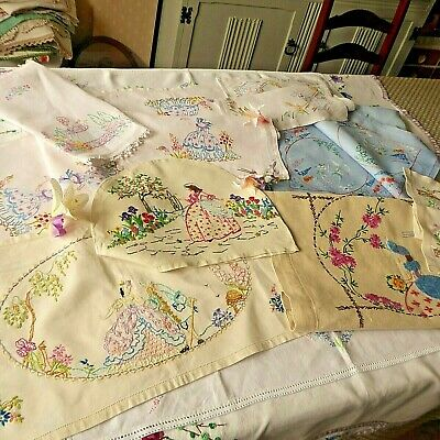 Vintage Hand Embroidered Linens X 9 Pieces  Of Beautiful Crinoline Ladies