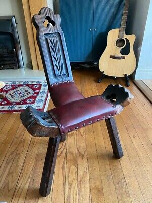 Antique Birthing, Spinning Stool Chair Excellent Condition Wood And Leather