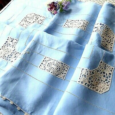 Vintage Embroidered Blue Linen  Lace & Tablecloth