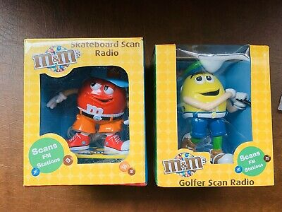 M&M Yellow Golfer and Red Skateboard FM Scan Radio Set