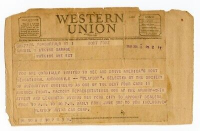 Western Union Telegram.....Playboy Motor Cars Dealer Appointments 1948