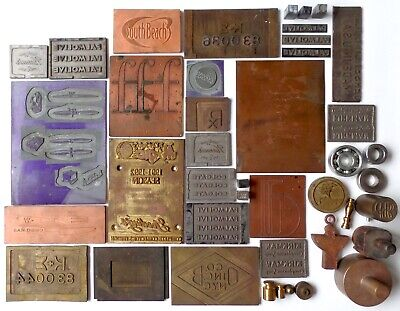 Antique Junk Drawer Lot Industrial Factory Mold Brass Copper Printing Block Soap