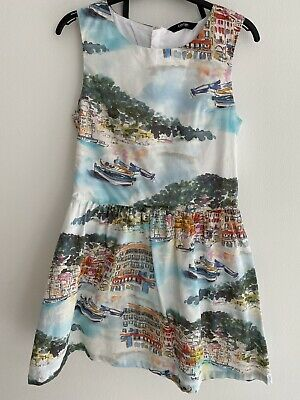 George Girls Prom Style Summer Dress Age 10-11 Years Scenic Print