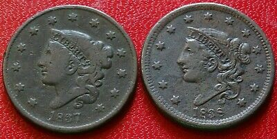 Lot HIGH DETAIL 1830s Matron Coronet Head LARGE Cent Coins 1837 1838 Old USA 1C