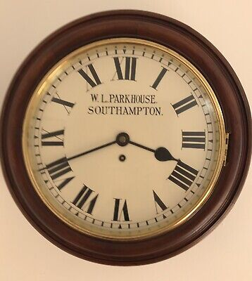 """Wall Clock circa 1920 With 12"""" Metal Dial and Fusee Movement"""