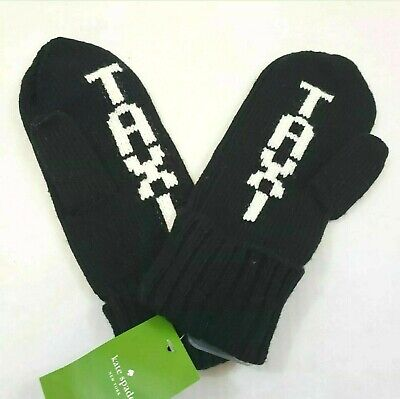 NWT Kate Spade Taxi Black Knit Mittens Women's  One Size