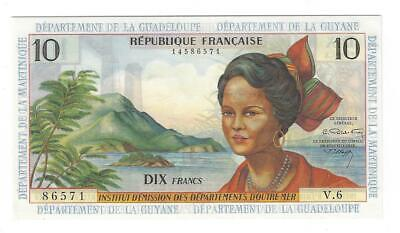 VERY RARE UNC 10 Francs French Antilles, Guadalupe La Guyane Martinique ND 1964