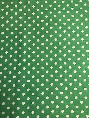 VTG Feedsack Opened, Green with White Polka Dots size 43x34